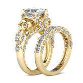 Gold Tone Princess Cut Sterling Silver Skull Ring