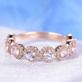 Halo Round Cut Synthetic Morganite Sterling Silver Women's Band