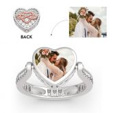 """Jeulia """"Heart and Infinity"""" Sterling Silver Personalized Photo Ring (With A Free Chain)"""