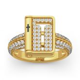 """Jeulia """"Bible"""" Hammer And Cross Sterling Silver Ring"""