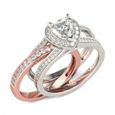 Jeulia  Halo Heart Cut Interchangeable Sterling Silver Ring Set