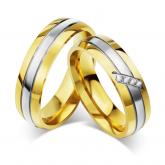 Jeulia Two Tone Titanium Steel Couple Rings