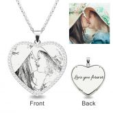 Heart Laser Engraved Personalized Photo Necklace With Stones Sterling Silver