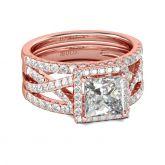 3PC Halo Princess Cut Sterling Silver Ring Set