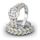 Leaf Design Halo Round Cut Sterling Silver Ring Set