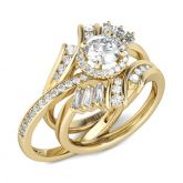 Gold Tone Halo Round Cut Interchangeable Sterling Silver Ring Set