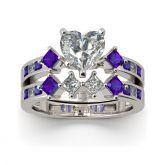 Jeulia Heart Cut Sterling Silver Ring Set