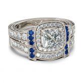 Jeulia Vintage Halo Princess Cut Sterling Silver Ring Set