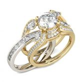 Two Tone Round Cut Interchangeable Sterling Silver Ring Set