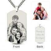 Dog Tag Laser Engraved Personalized Photo Necklace Sterling Silver