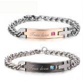 """True Love"" Titanium Steel Couple's Bracelets"