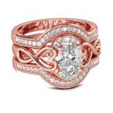 Rose Gold Tone Infinity Oval Cut Sterling Silver Ring Set