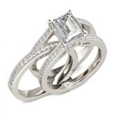 Simple Emerald Cut Interchangeable Sterling Silver Ring Set
