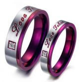 Purple Color Stainless Steel Couple Rings