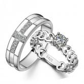 Exquisite Round Cut Sterling Silver Couple Rings