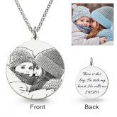 Jeulia  Round Laser Engraved Personalized Photo Necklace Sterling Silver