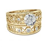 Gold-Tone Scrollwork Round Cut Sterling Silver Ring Set