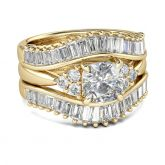 Gold Tone Cushion Cut Sterling Silver 3PC Ring Set