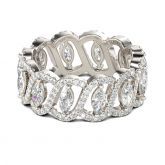 Hollow Marquise Cut Sterling Silver Women's Band