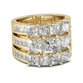 Gold Tone Princess Cut Sterling Silver Ring Set