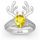 "Jeulia ""Christmas Reindeer""Antler Pear Cut Sterling Silver Animal Ring"