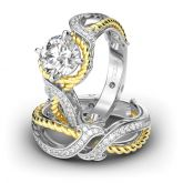 Jeulia Rope Design Round Cut Sterling Silver Ring Set