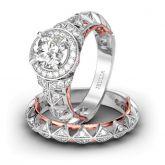 Jeulia Art Deco Halo Round Cut Sterling Silver Ring Set