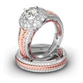 Jeulia Braided Halo Round Cut Sterling Silver Ring Set