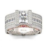 Jeulia Milgrain Radiant Cut Sterling Silver Ring