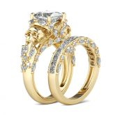 Jeulia Gold Tone Princess Cut Sterling Silver Skull Ring
