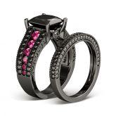 Black Princess Cut Sterling Silver Ring Set