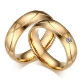Jeulia Gold Tone Couple Rings Titanium Steel