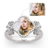"""Jeulia """"Lucky Filled of My Life"""" Sterling Silver Personalized Photo Ring"""