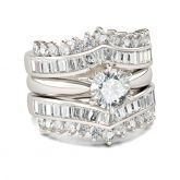Jeulia Art Deco Round Cut Sterling Silver 3PC Ring Set
