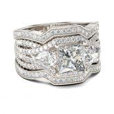 Jeulia Three Stone Princess Cut Sterling Silver Ring Set