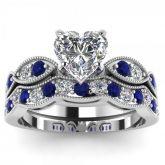 Jeulia Milgrain Heart Cut Sterling Silver Ring Set
