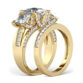 Three Stone Princess Cut Sterling Silver Ring Set