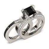 Jeulia Interchangeable Princess Cut Sterling Silver Ring Set