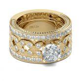Jeulia Gold Tone Milgrain Round Cut Sterling Silver Ring Set