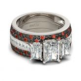 Jeulia Three Stone Emerald Cut Sterling Silver Ring Set