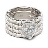Jeulia Halo Heart Cut Sterling Silver Ring Set