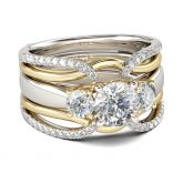 Jeulia Two Tone Three Stone Round Cut Sterling Silver Ring Set