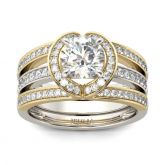 Jeulia  Halo Two Tone Interchangeable Sterling Silver Ring Set