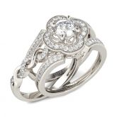 Jeulia  Twist Floral Halo Round Cut Interchangeable Sterling Silver Ring Set