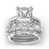 Jeulia 4PC Asscher Cut Sterling Silver Ring Set
