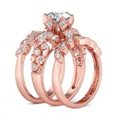 Jeulia 3PC Leaf Shape Round Cut Sterling Silver Ring Set