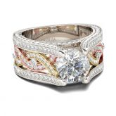 Jeulia Three Tone Round Cut Sterling Silver Ring