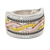 Jeulia Tri-Tone Round Cut Sterling Silver Women's Band