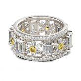 Jeulia Flower Design Emerald Cut Sterling silver Ring