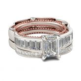 Jeulia Milgrain Emerald Cut Sterling Silver Ring Set
